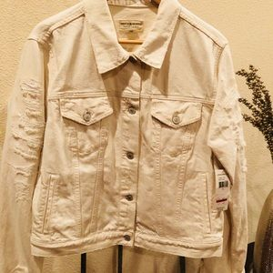 Denim & supply distressed off white denim jacket